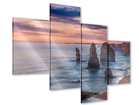 Acrylglasbild 4-teilig modern Felsen in der Brandung
