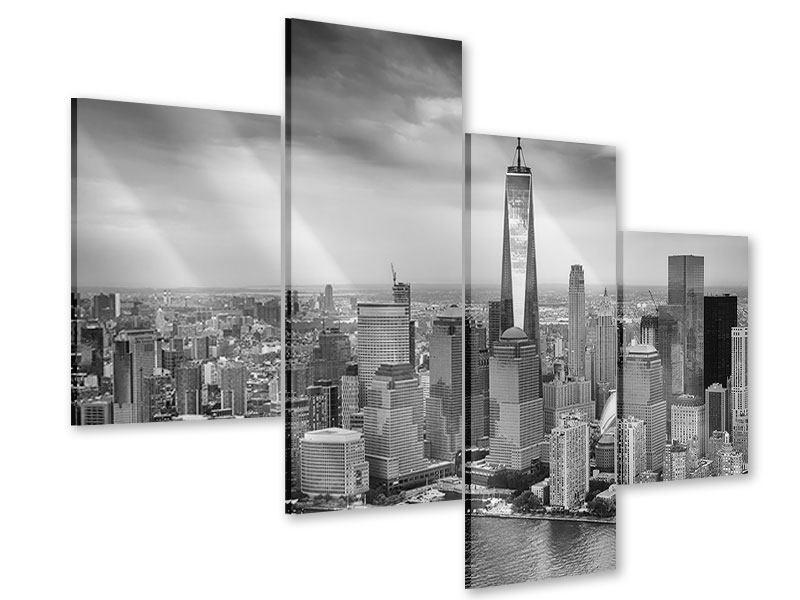 Acrylglasbild 4-teilig modern Skyline Schwarzweissfotografie New York