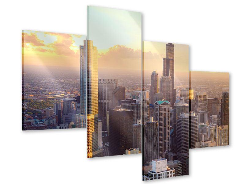 Acrylglasbild 4-teilig modern Skyline Chicago