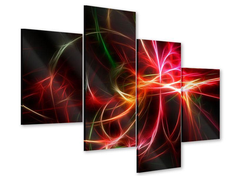 Acrylglasbild 4-teilig modern Fraktales Lichtspektakel