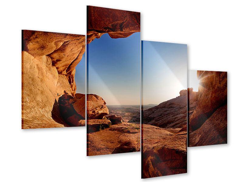 Acrylglasbild 4-teilig modern Sonnenuntergang vor der Höhle