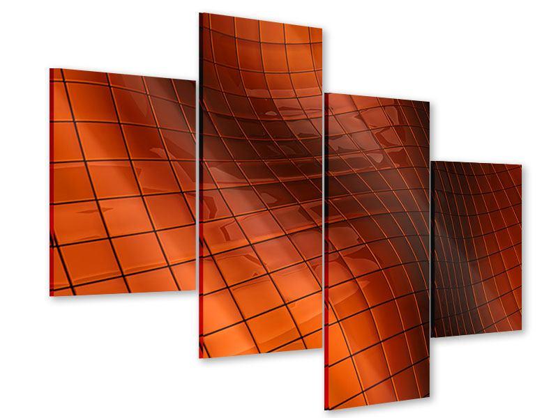 Acrylglasbild 4-teilig modern 3D-Kacheln