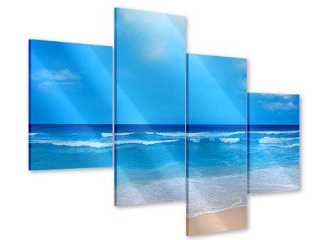 Acrylglasbild 4-teilig modern Sanfte Strandwellen