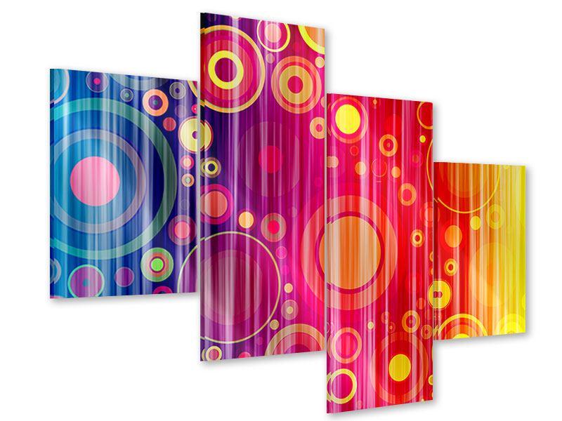 Acrylglasbild 4-teilig modern Grunge-Retrokreise