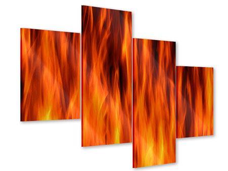 Acrylglasbild 4-teilig modern Feuer Close Up