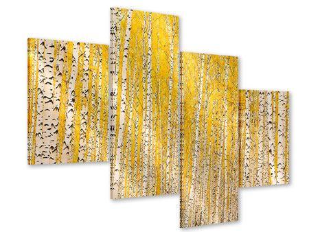 Acrylglasbild 4-teilig modern Der Birkenwald im Herbst