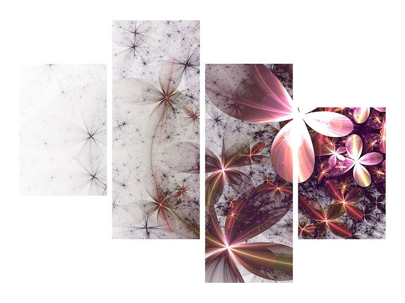 Acrylglasbild 4-teilig modern Abstrakte Blumen