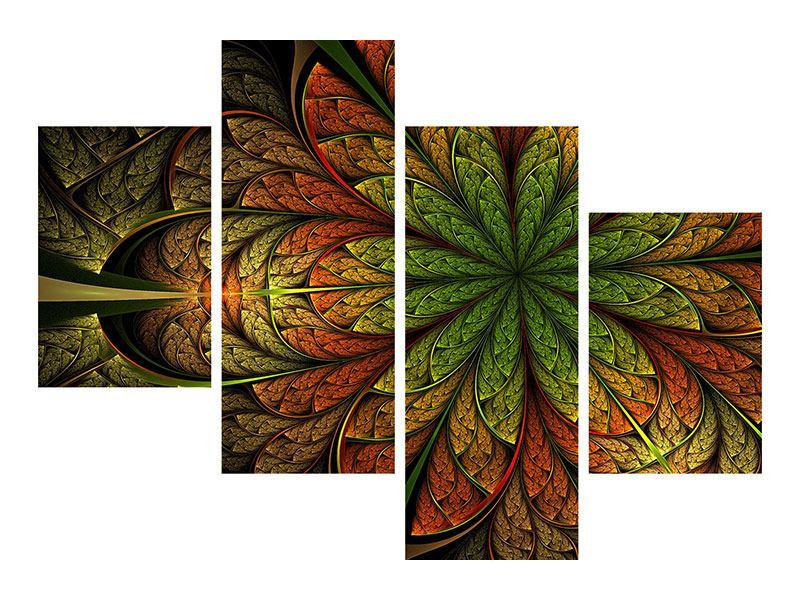 Acrylglasbild 4-teilig modern Abstraktes Blumenmuster