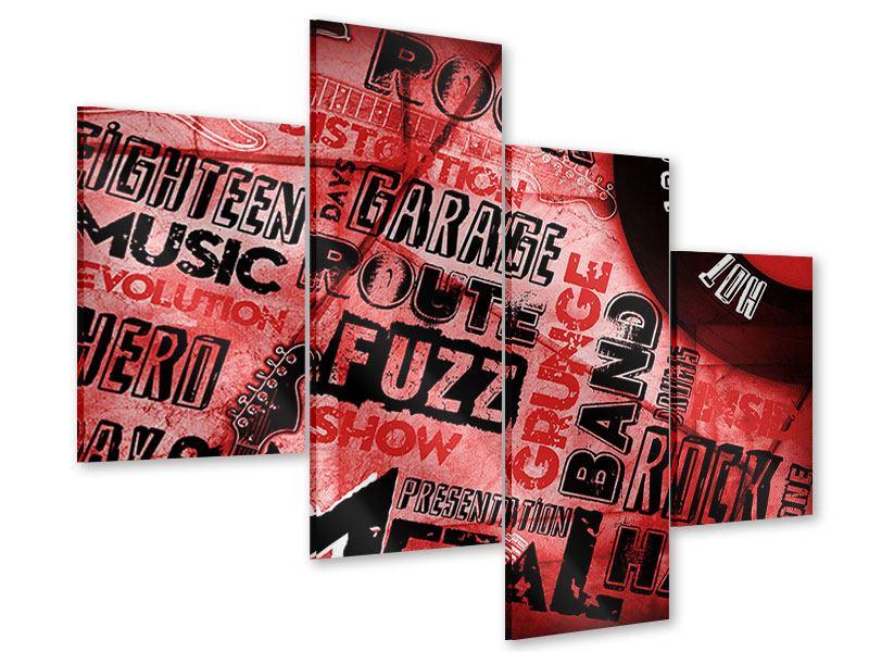Acrylglasbild 4-teilig modern Writings Music Grunge
