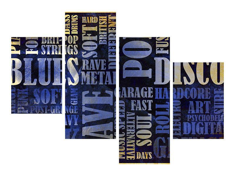 Acrylglasbild 4-teilig modern Writings im Grungestil