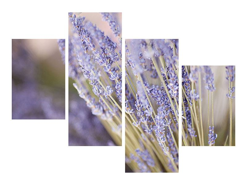 Acrylglasbild 4-teilig modern Lavendel XXL