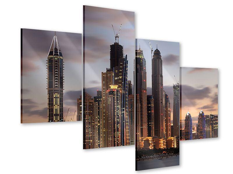 Acrylglasbild 4-teilig modern Skyline Dubai bei Sonnenuntergang