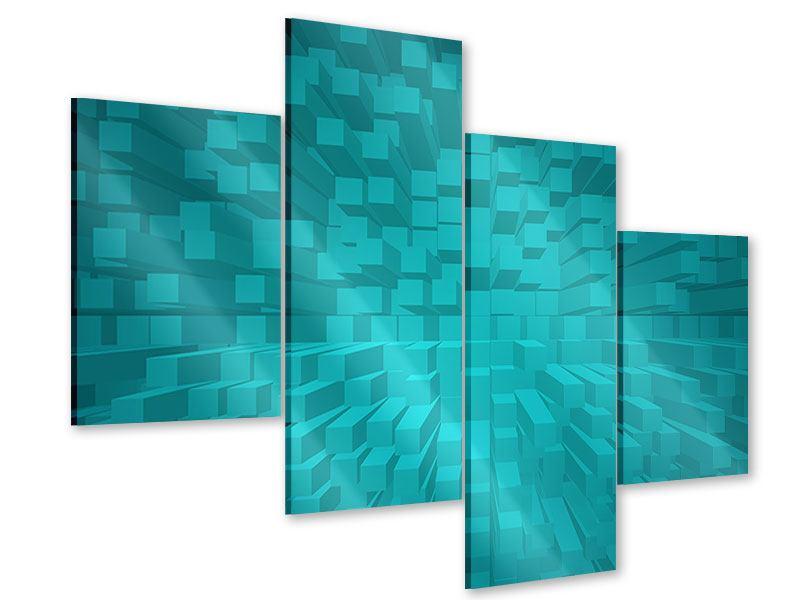 Acrylglasbild 4-teilig modern 3D-Kubusse