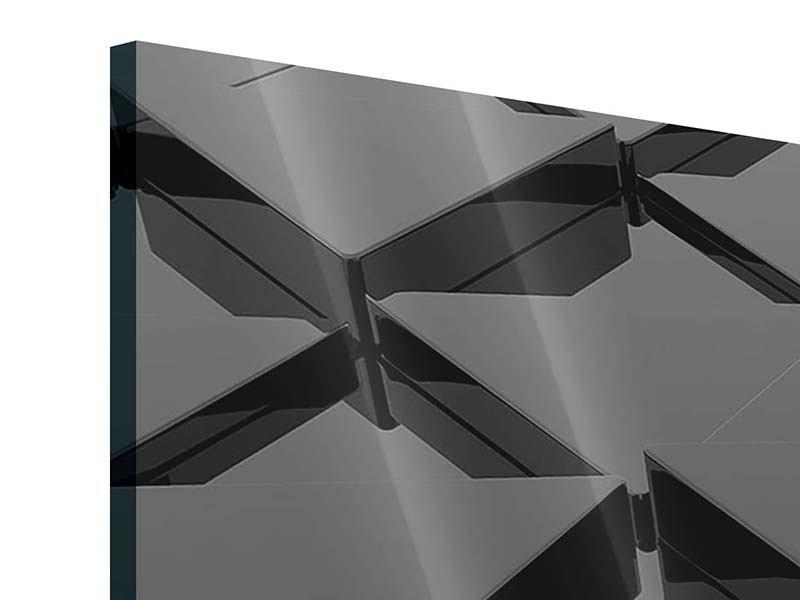 Acrylglasbild 4-teilig modern 3D-Dreiecksflächen