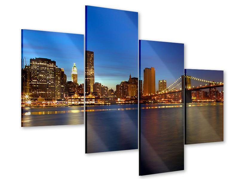 Acrylglasbild 4-teilig modern Skyline Manhattan im Lichtermeer