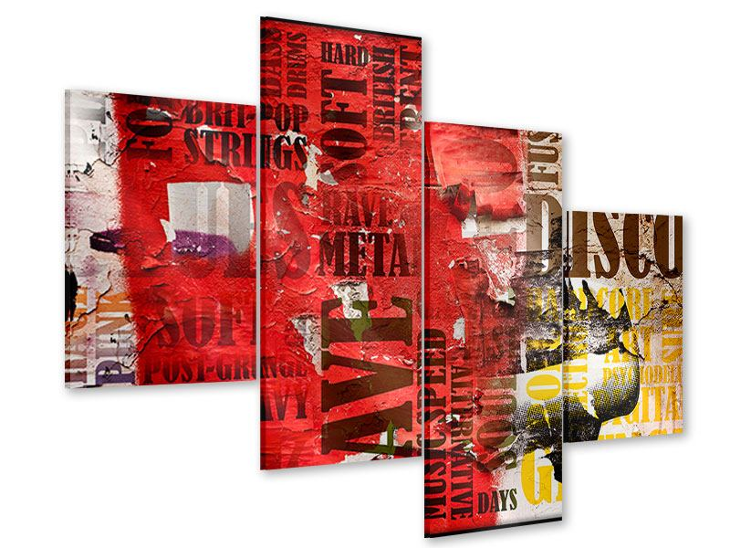 Acrylglasbild 4-teilig modern Musiktext im Grungestil