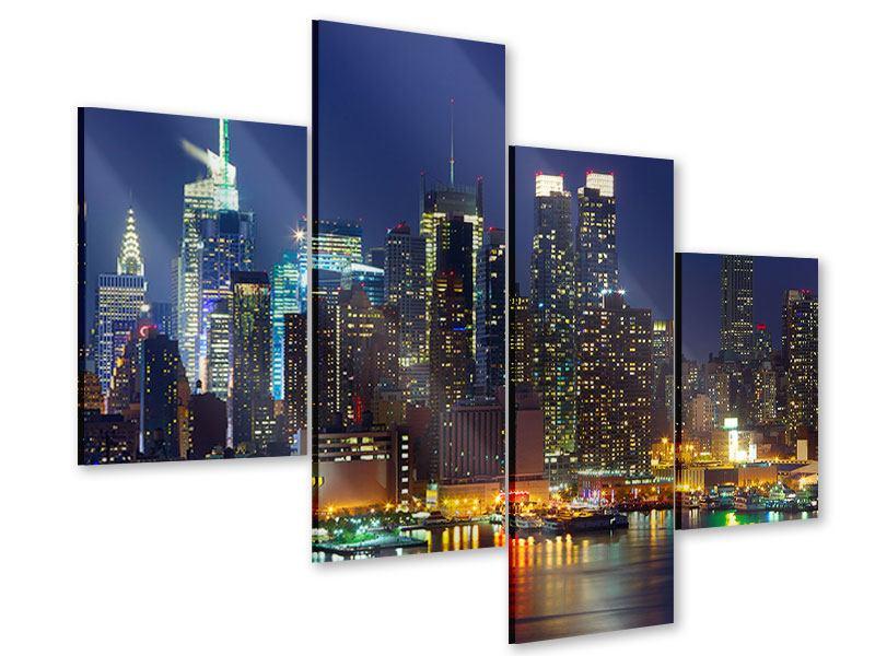 Acrylglasbild 4-teilig modern Skyline New York Midtown bei Nacht