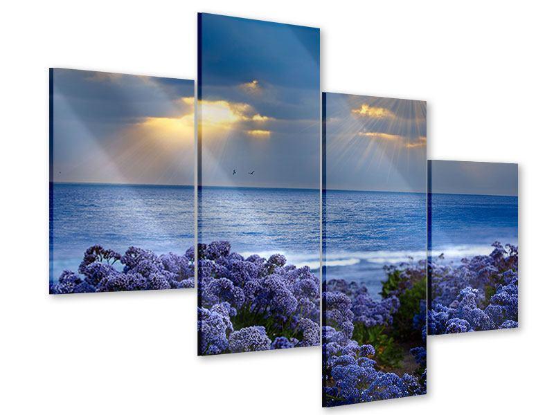 Acrylglasbild 4-teilig modern Der Lavendel und das Meer