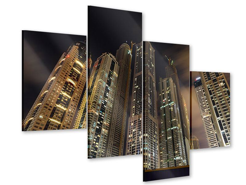 Acrylglasbild 4-teilig modern Wolkenkratzer Dubai Marina