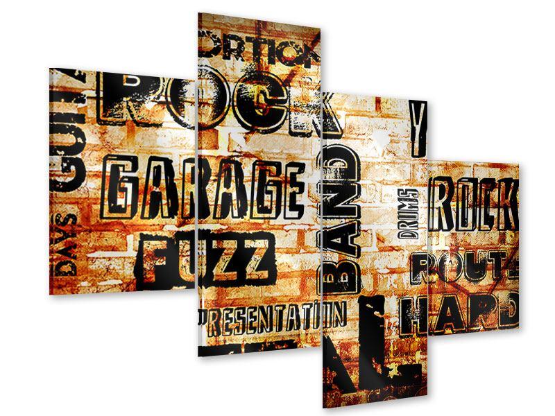 Acrylglasbild 4-teilig modern Rock im Grungestil