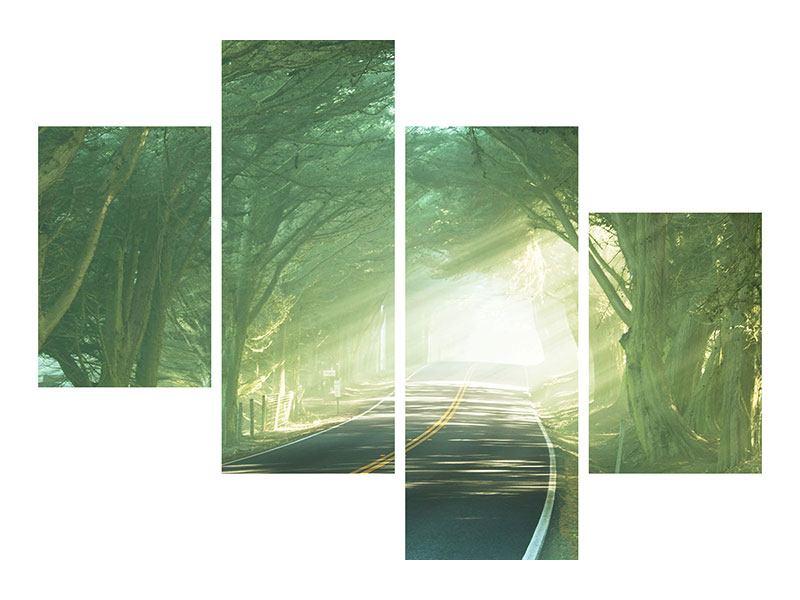 Acrylglasbild 4-teilig modern Die Allee