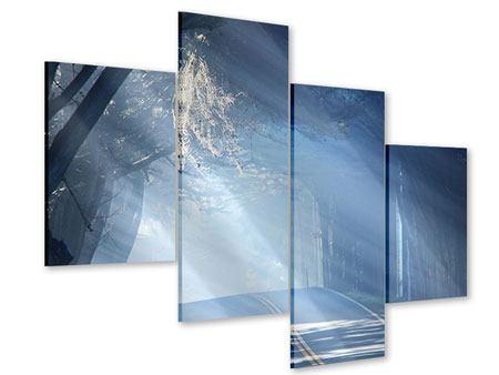 Acrylglasbild 4-teilig modern Lichtdurchflutete Baumallee