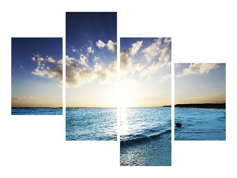 Acrylglasbild 4-teilig modern Das Meer im Sonnenaufgang