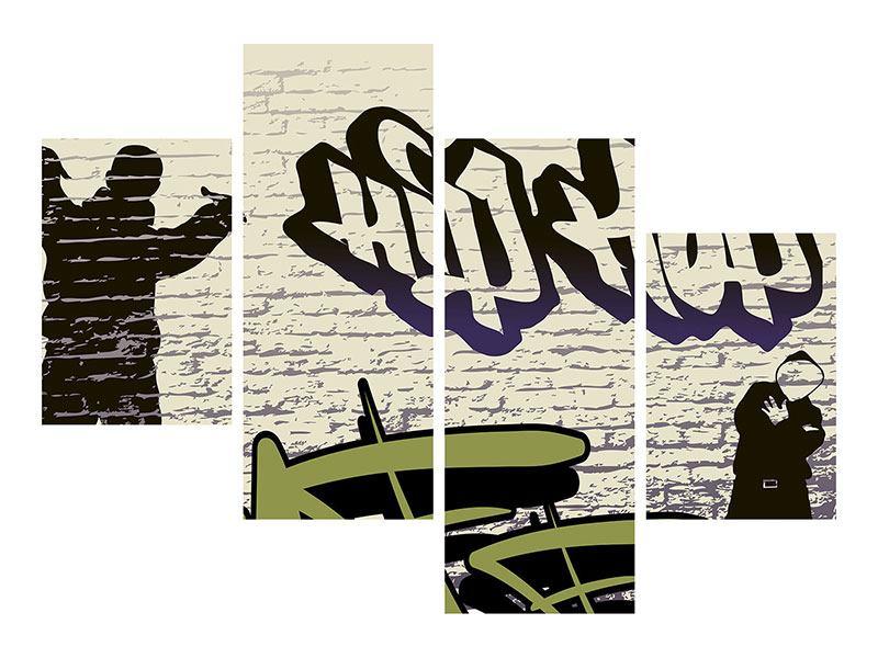 Acrylglasbild 4-teilig modern Graffiti Hip Hop