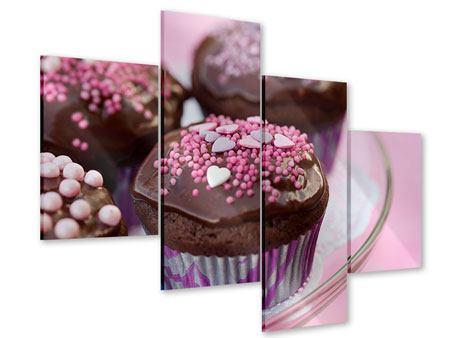 Acrylglasbild 4-teilig modern Muffins