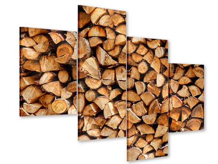 Acrylglasbild 4-teilig modern Gestapeltes Holz