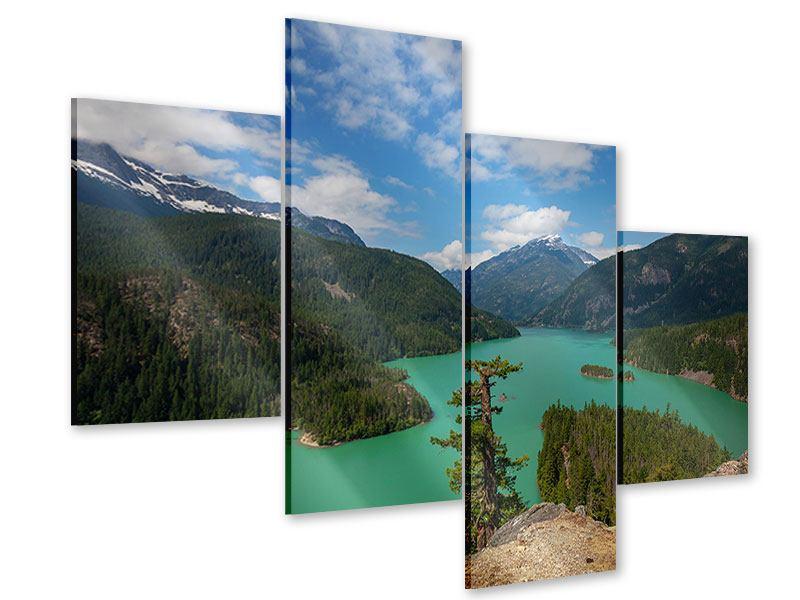 Acrylglasbild 4-teilig modern Diablo Bergsee