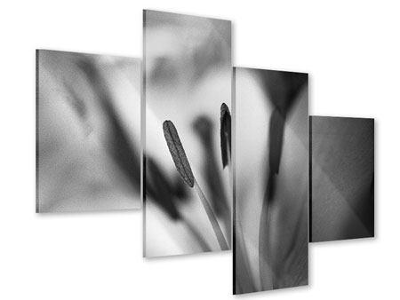 Acrylglasbild 4-teilig modern Makro Lilienblatt