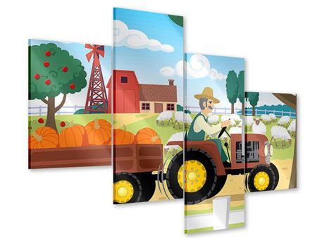 Acrylglasbild 4-teilig modern Bauernhof