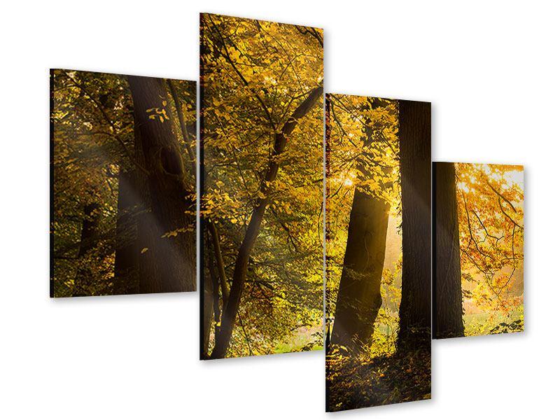 Acrylglasbild 4-teilig modern Herbstlaub