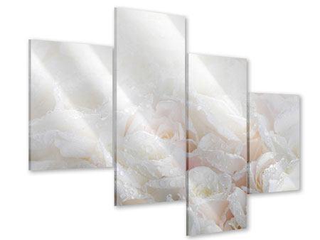 Acrylglasbild 4-teilig modern Weisse Rosen im Morgentau