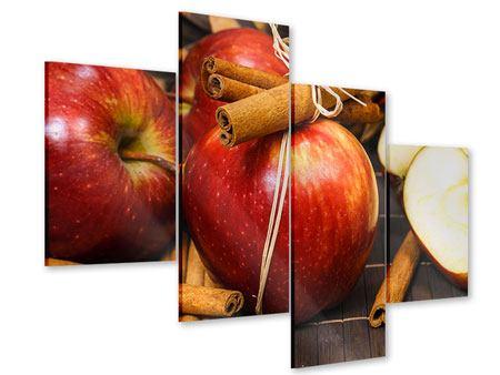 Acrylglasbild 4-teilig modern Äpfel