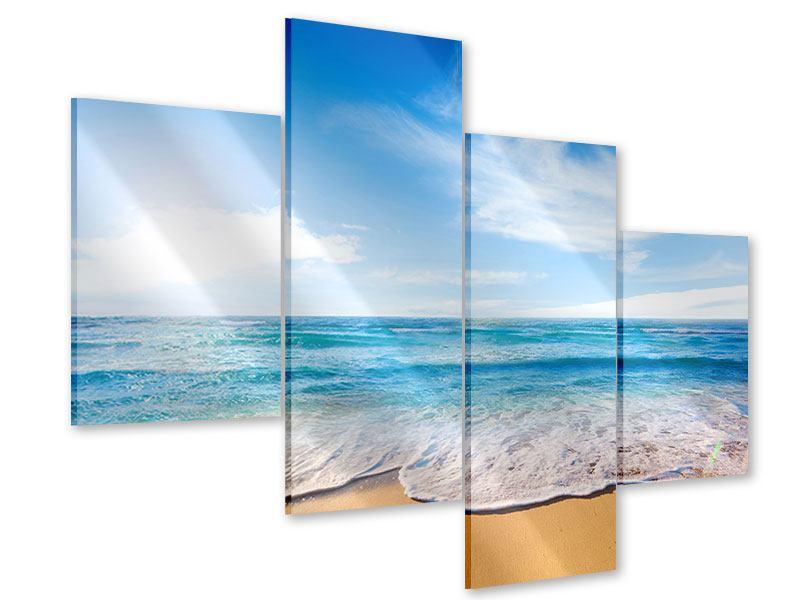 Acrylglasbild 4-teilig modern Spuren im Sand