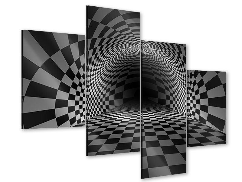 Acrylglasbild 4-teilig modern Abstraktes Schachbrett