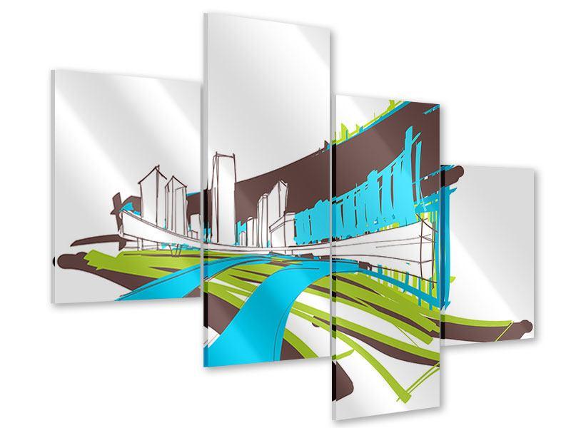 Acrylglasbild 4-teilig modern Graffiti Street-Art
