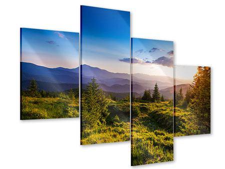 Acrylglasbild 4-teilig modern Friedliche Landschaft