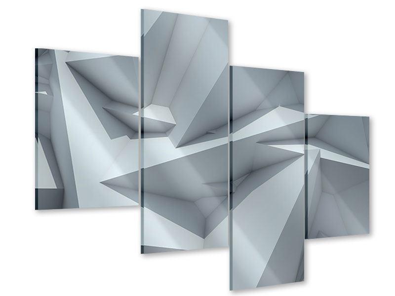 Acrylglasbild 4-teilig modern 3D-Kristallo