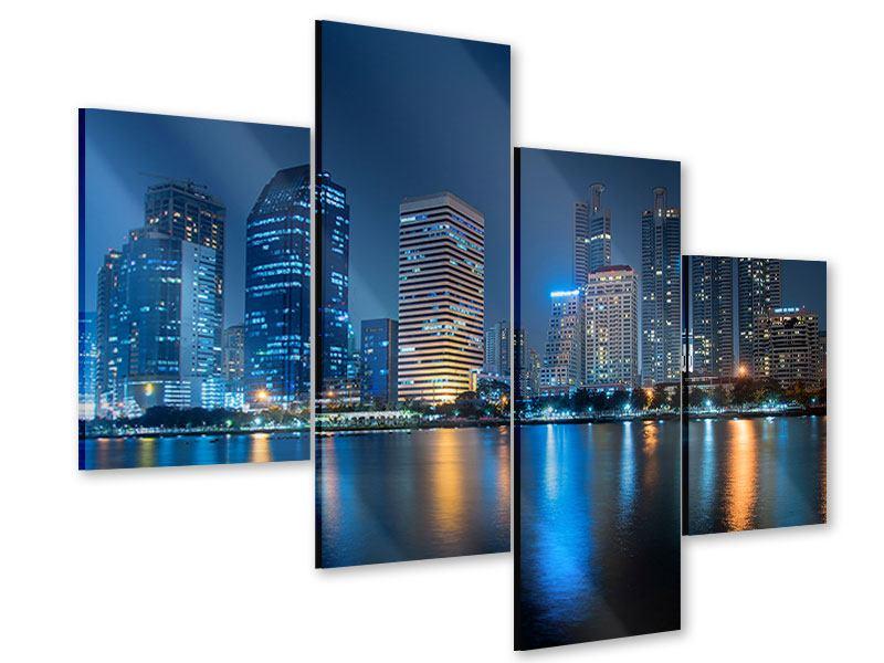 Acrylglasbild 4-teilig modern Skyline Bangkok bei Nacht