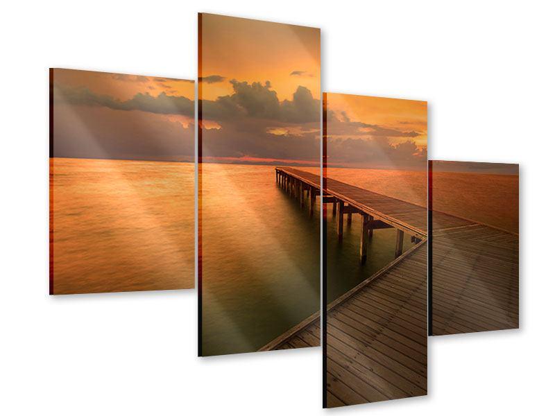 Acrylglasbild 4-teilig modern Der Steg am Meer