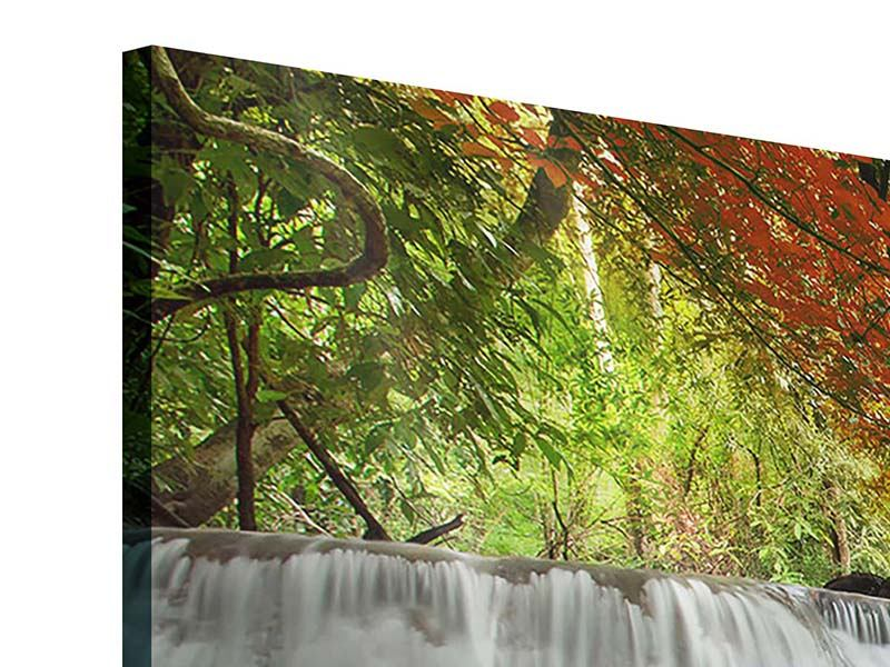 Acrylglasbild 4-teilig modern Erawan Wasserfall