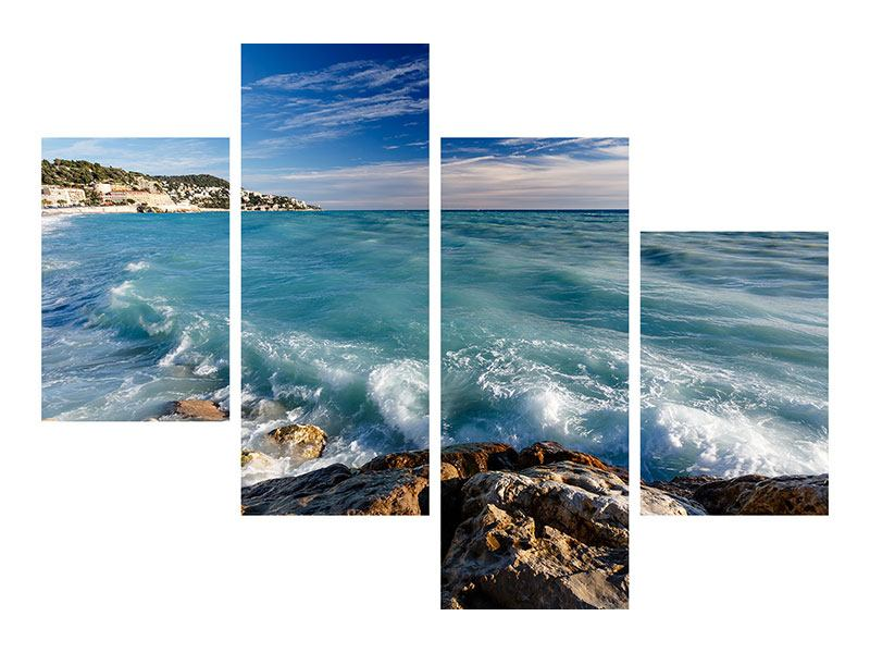 Acrylglasbild 4-teilig modern Cote D`Azur