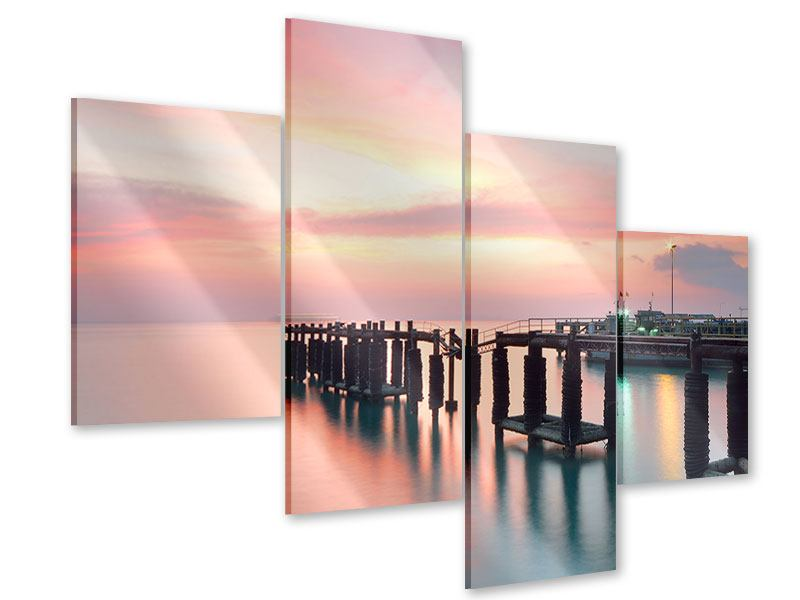 Acrylglasbild 4-teilig modern Der beruhigende Sonnenuntergang