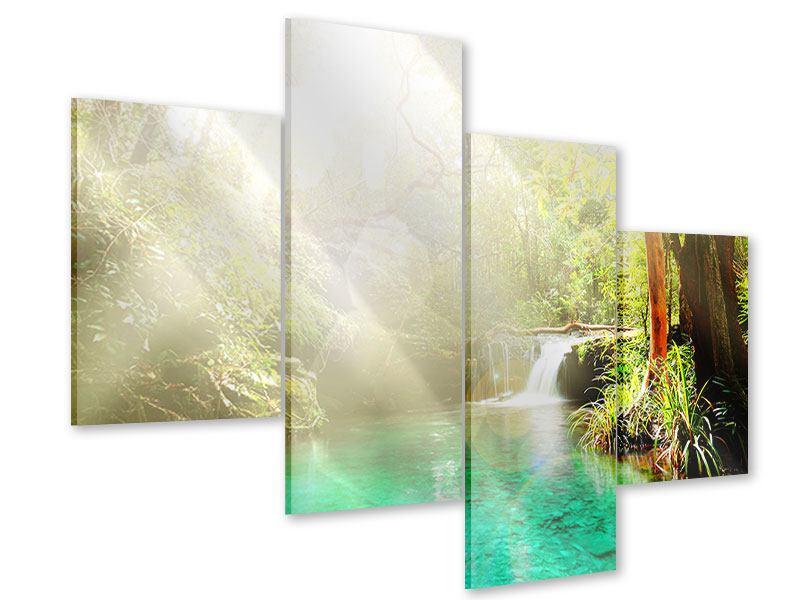 Acrylglasbild 4-teilig modern Die grüne Lagune