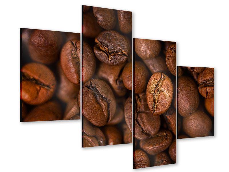 Acrylglasbild 4-teilig modern Close Up Kaffeebohnen
