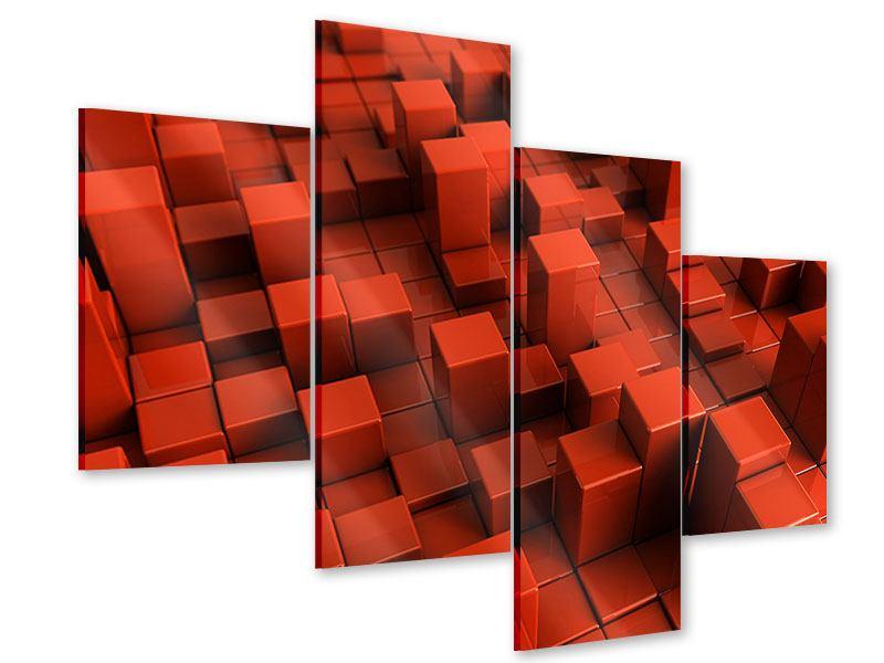Acrylglasbild 4-teilig modern 3D-Rechtkant