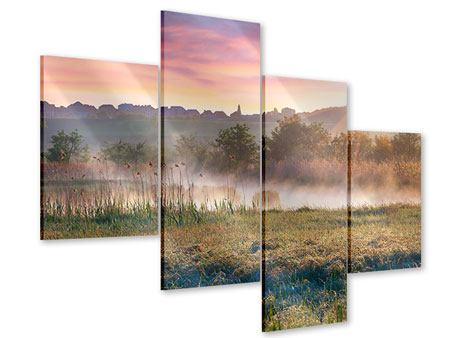 Acrylglasbild 4-teilig modern Sonnenuntergang am Hügel